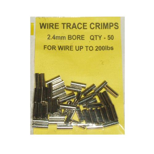 Wire Trace Crimps 2.4mm for up to 200lb pack of 50 Sea Predator Fishing